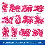 12 Zodiacs의 벡터 중국 전통 종이 절단
