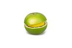 Citrus Fruit Slices Stacked On White Background