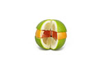 Variety Of Citrus Fruit Slices Stacked On White Background