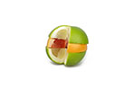 Variety Of Grapefruits Sliced And Stacked On White Background